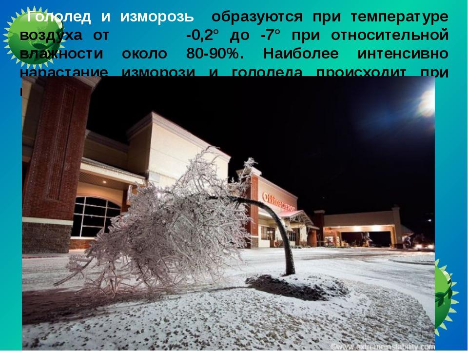 Гололед и изморозь образуются при температуре воздуха от -0,2° до -7° при от...