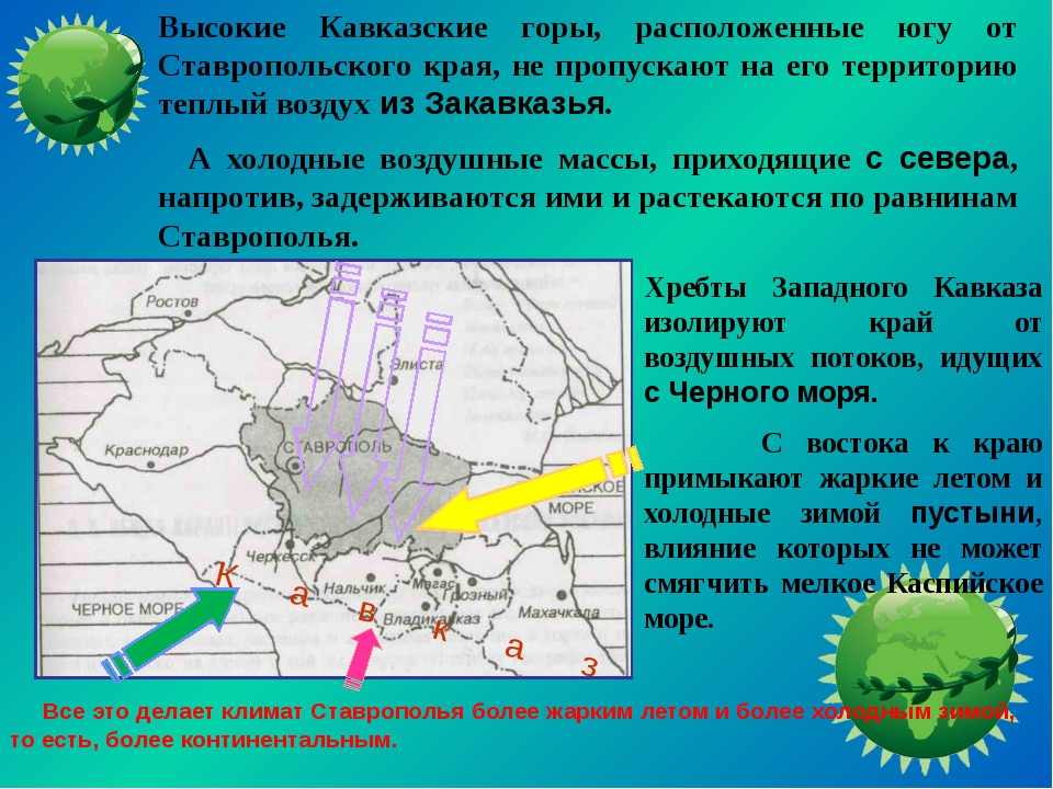 Хребты Западного Кавказа изолируют край от воздушных потоков, идущих с Черно...