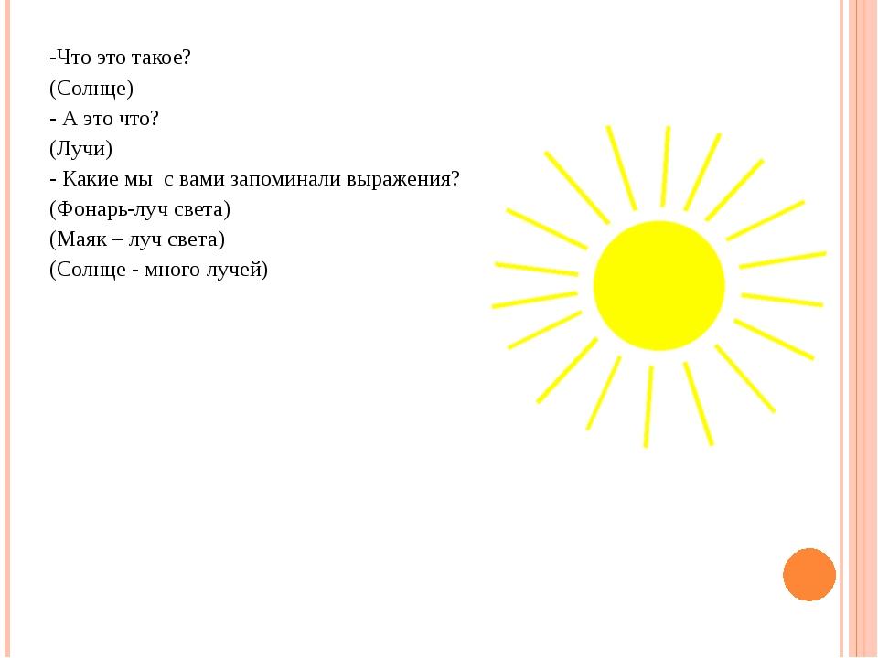 -Что это такое? (Солнце) - А это что? (Лучи) - Какие мы с вами запоминали выр...