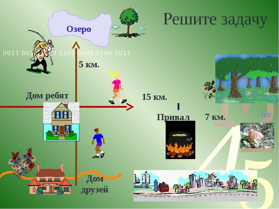 Решите задачу Дом ребят Привал 15 км. 7 км. Лес Озеро Дом друзей 5 км.
