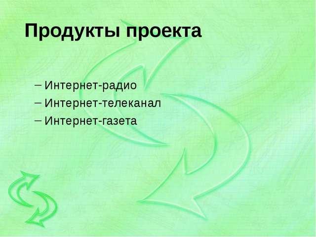 Продукты проекта Интернет-радио Интернет-телеканал Интернет-газета