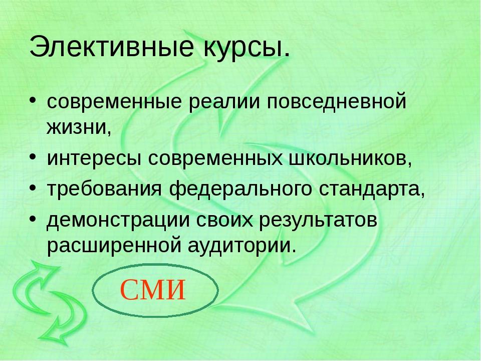 Элективные курсы. современные реалии повседневной жизни, интересы современных...