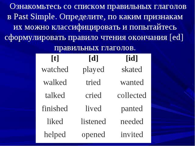 Ознакомьтесь со списком правильных глаголов в Past Simple. Определите, по как...