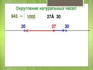 20 30 27 27≈ 30 Округление натуральных чисел 943 1000