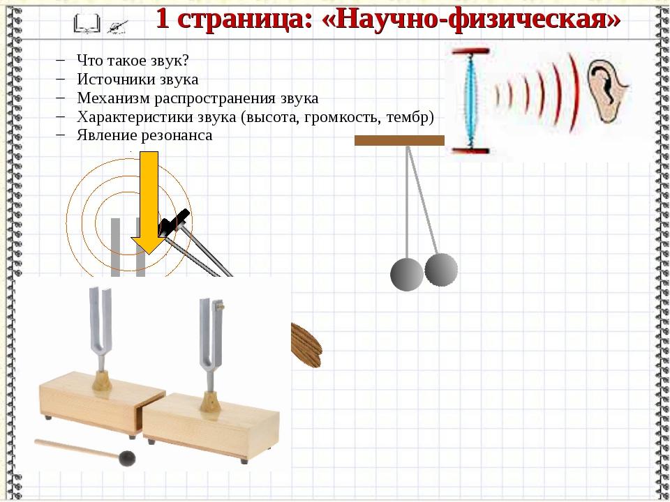 1 страница: «Научно-физическая» Что такое звук? Источники звука Механизм расп...