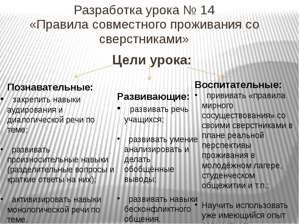 Разработка урока № 14 «Правила совместного проживания со сверстниками» Цели у...