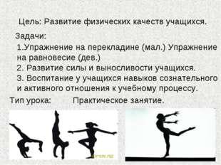 Цель: Развитие физических качеств учащихся. Задачи: 1.Упражнение на переклади
