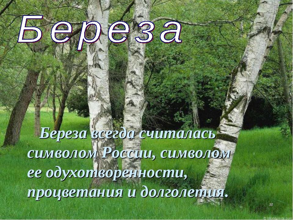 Береза всегда считалась символом России, символом ееодухотворенности, процв...