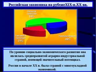 Российская экономика на рубежеXIX-н.XX вв. Несмотря на высокие темпы развития