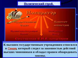 Политический строй. Российская империя оставалась самодержавной монархией. В