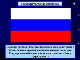 Государственный флаг представлял собой полотнище с белой, синей и красной гор