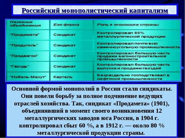Российский монополистический капитализм Основной формой монополий в России ст...