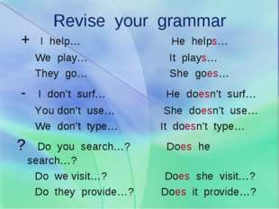 Revise your grammar + I help… He helps… We play… It plays… They go… She goes…