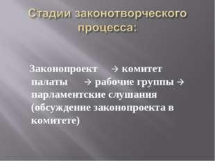 Законопроект  комитет палаты  рабочие группы  парламентские слушания (обс