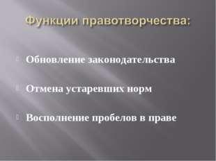 Обновление законодательства Отмена устаревших норм Восполнение пробелов в пр