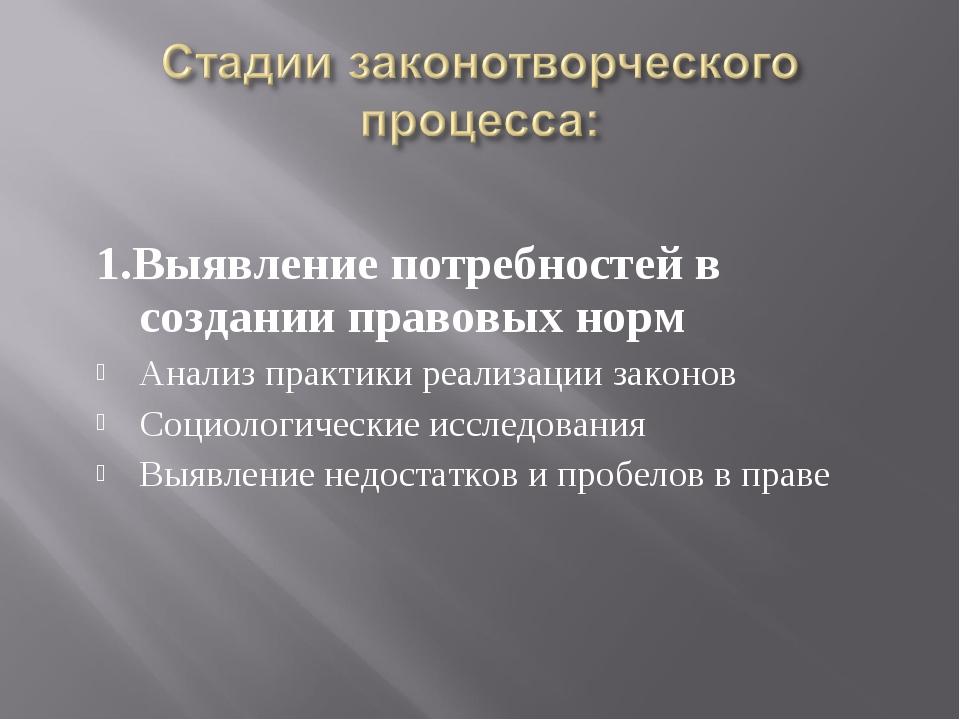 1.Выявление потребностей в создании правовых норм Анализ практики реализации...