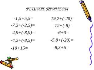 РЕШИТЕ ПРИМЕРЫ -1,5+5,5=