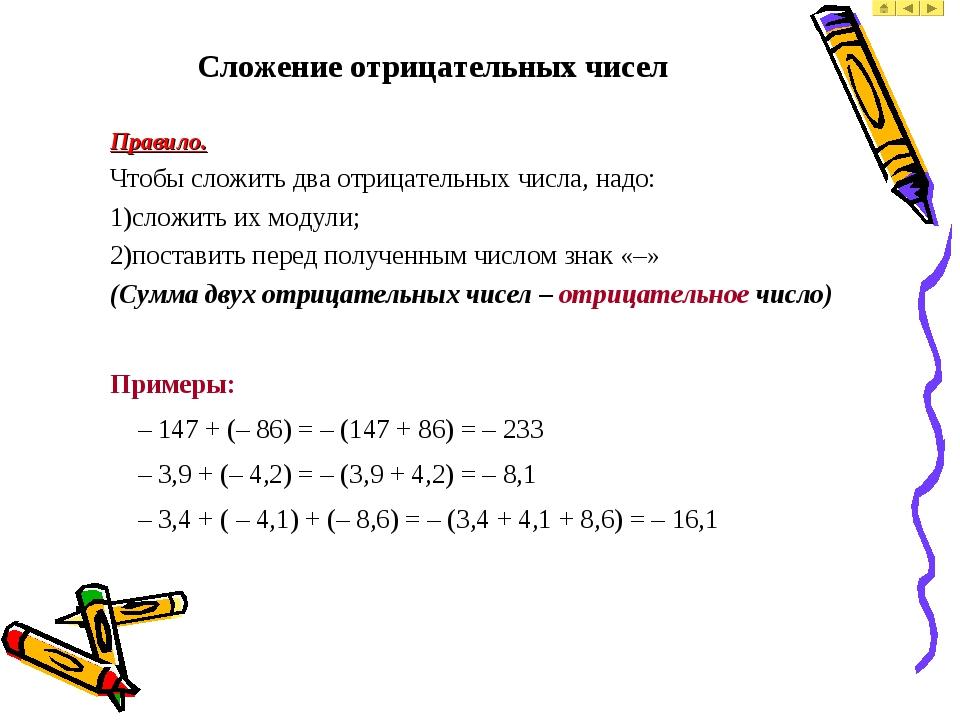 Сложение отрицательных чисел Правило. Чтобы сложить два отрицательных числа,...