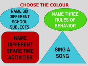 NAME SIX DIFFERENT SCHOOL SUBJECTS NAME THREE RULES OF BEHAVIOR NAME DIFFERE