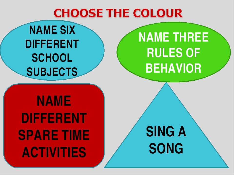 NAME SIX DIFFERENT SCHOOL SUBJECTS NAME THREE RULES OF BEHAVIOR NAME DIFFERE...