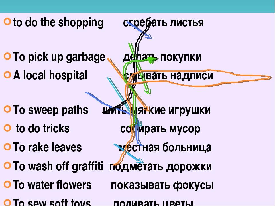 to do the shopping сгребать листья To pick up garbage делать покупки A local...