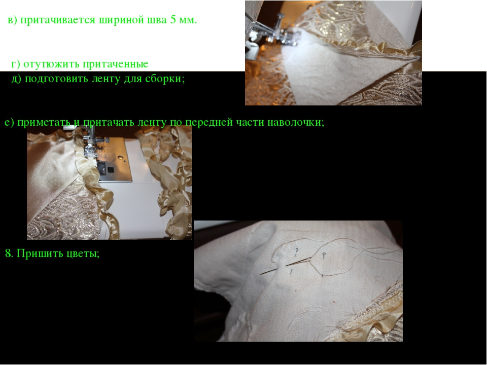 в) притачивается шириной шва 5 мм. г) отутюжить притаченные детали д) подгот...