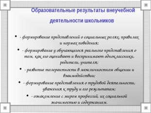 Образовательные результаты внеучебной деятельности школьников · формирование