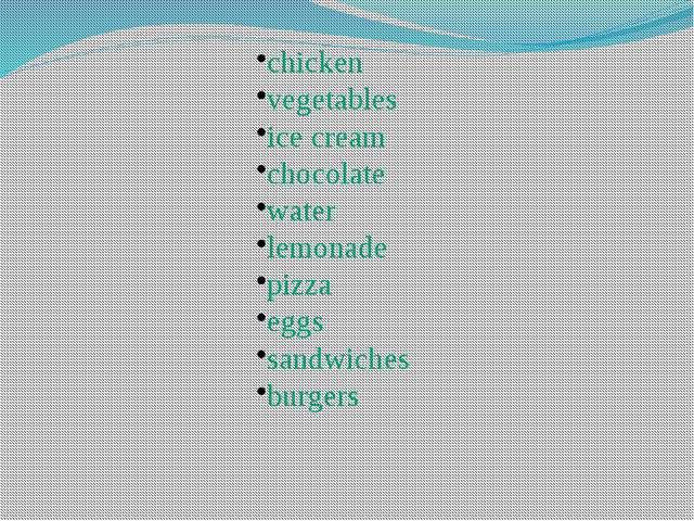 chicken vegetables ice cream chocolate water lemonade pizza eggs sandwiches b...