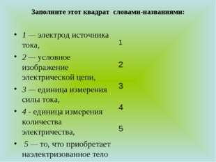 Заполните этот квадрат словами-названиями:  1 — электрод источника тока, 2