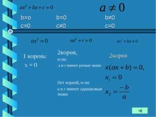 1 корень: x = 0 2корня, если: а и с имеют разные знаки Нет корней, если: а и
