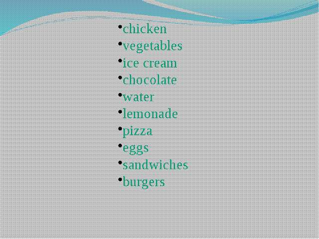 chicken vegetables ice cream chocolate water lemonade pizza eggs sandwiches b...
