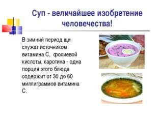 Суп - величайшее изобретение человечества! В зимний период щи служат источник