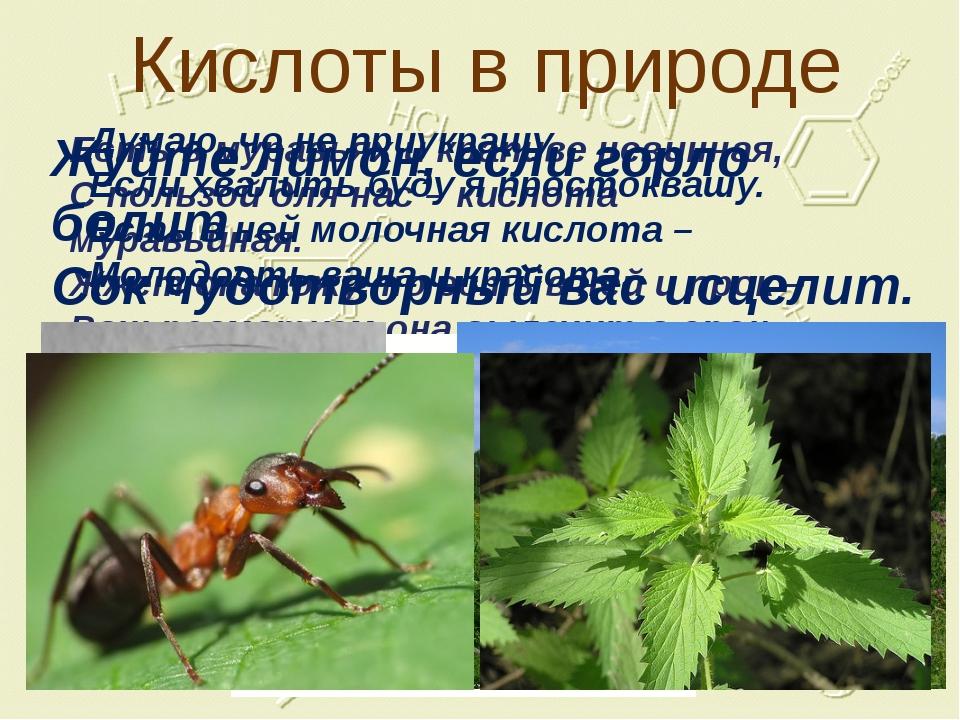 Кислоты в природе Есть в муравьях и крапиве невинная, С пользой для нас – кис...