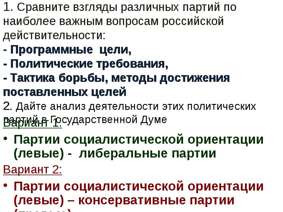 1. Сравните взгляды различных партий по наиболее важным вопросам российской...