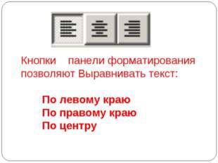 Кнопки панели форматирования позволяют Выравнивать текст: По левому краю По п