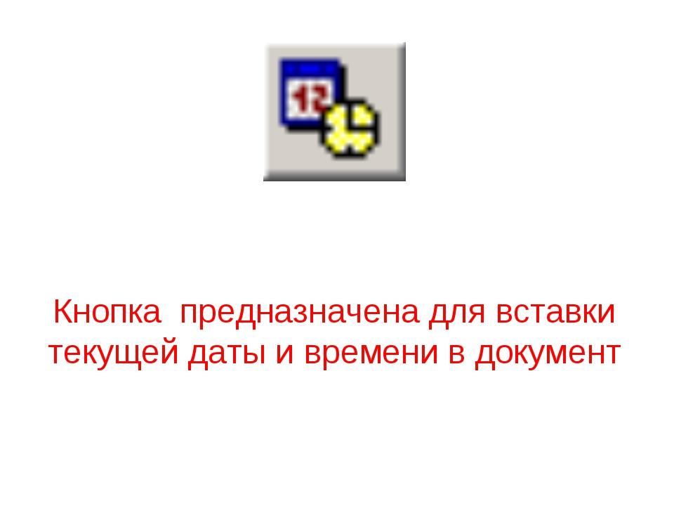 Кнопка предназначена для вставки текущей даты и времени в документ