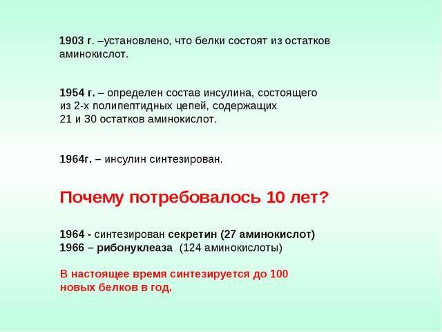 1954 г. – определен состав инсулина, состоящего из 2-х полипептидных цепей,...