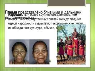 Племя представлено близкими и дальними родственниками Народность – более круп