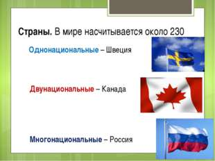 Страны. В мире насчитывается около 230 Однонациональные – Швеция Двунациональ