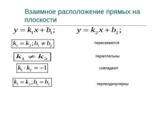 Взаимное расположение прямых на плоскости пересекаются параллельны совпадают