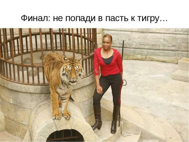 Финал: не попади в пасть к тигру…