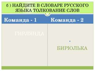 б ) НАЙДИТЕ В СЛОВАРЕ РУССКОГО ЯЗЫКА ТОЛКОВАНИЕ СЛОВ Команда - 1 ГИРЛЯНДА Ком