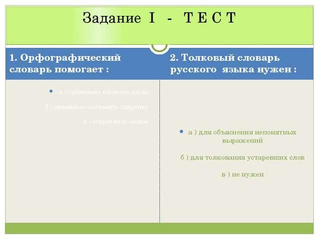 1. Орфографический словарь помогает : 2. Толковый словарь русского языка нуже...