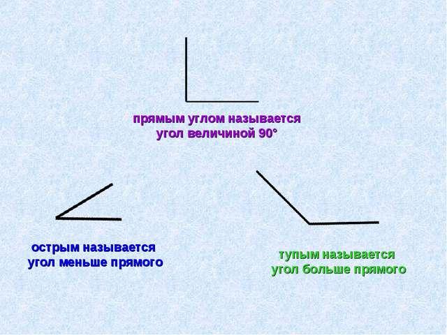 прямым углом называется угол величиной 90° острым называется угол меньше прям...