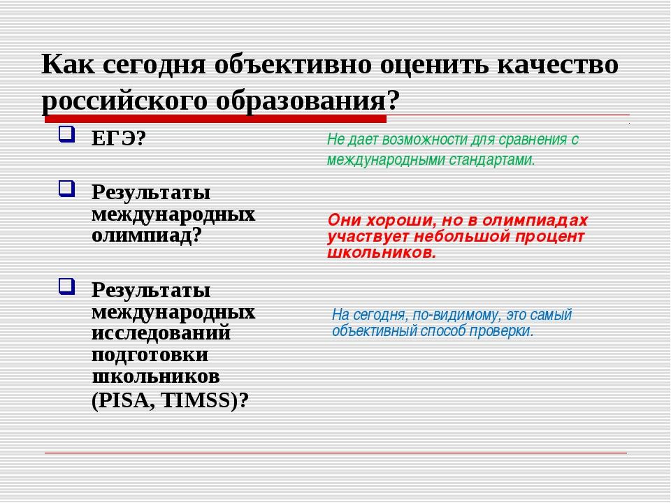 Как сегодня объективно оценить качество российского образования? ЕГЭ? Результ...
