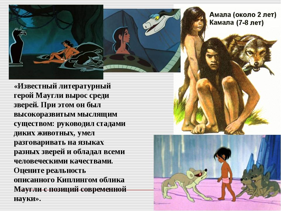 «Известный литературный герой Маугли вырос среди зверей. При этом он был высо...