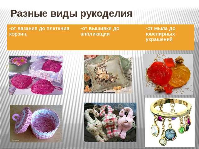 Разные виды рукоделия , -от вязания до плетения корзин, -от вышивки до апплик...