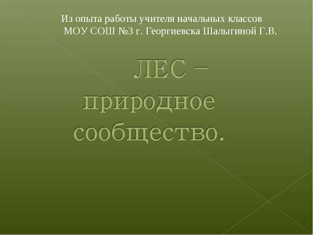 Из опыта работы учителя начальных классов МОУ СОШ №3 г. Георгиевска Шалыгиной...