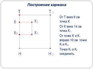 Построение кармана От Т вниз 6 см точка К. От К вниз 14 см точка К1. От точек