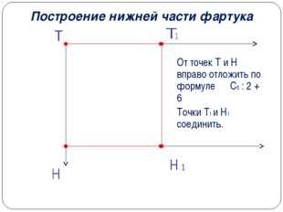 Построение нижней части фартука От точек Т и Н вправо отложить по формуле Сб